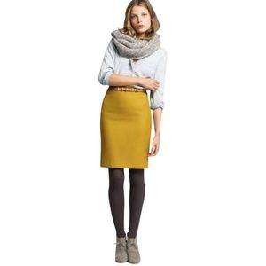 J. Crew Double Serge Wool Ochre Pencil Skirt